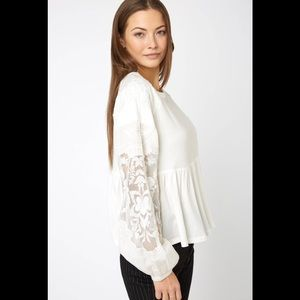 Free People Penny Lace Sleeve Top Sz M
